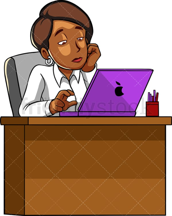 Bored black woman working with laptop. PNG - JPG and vector EPS file formats (infinitely scalable). Image isolated on transparent background.
