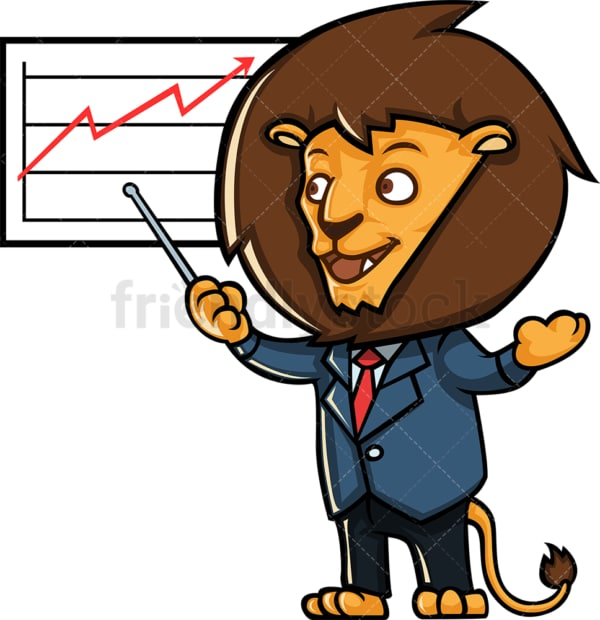Business lion giving presentation. PNG - JPG and vector EPS (infinitely scalable).