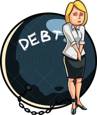 Business woman in debt. PNG - JPG and vector EPS file formats (infinitely scalable). Image isolated on transparent background.