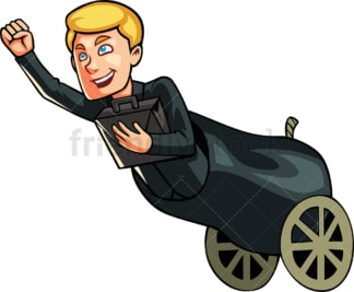 Businessman in a cannon. PNG - JPG and vector EPS file formats (infinitely scalable). Image isolated on transparent background.