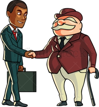 Businessman shaking hands with old man. PNG - JPG and vector EPS file formats (infinitely scalable). Image isolated on transparent background.