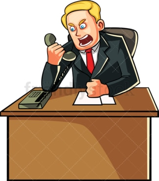 Businessman yelling over the phone. PNG - JPG and vector EPS file formats (infinitely scalable). Image isolated on transparent background.