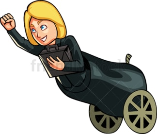 Businesswoman in a cannon. PNG - JPG and vector EPS file formats (infinitely scalable). Image isolated on transparent background.