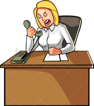 Businesswoman yelling over the phone. PNG - JPG and vector EPS file formats (infinitely scalable). Image isolated on transparent background.