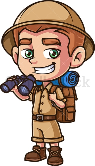 Child explorer holding binoculars. PNG - JPG and vector EPS (infinitely scalable).