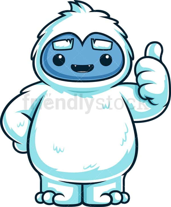 Cute yeti monster thumbs up. PNG - JPG and vector EPS (infinitely scalable).