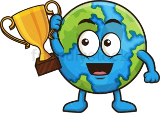 Earth holding gold trophy. PNG - JPG and vector EPS (infinitely scalable).
