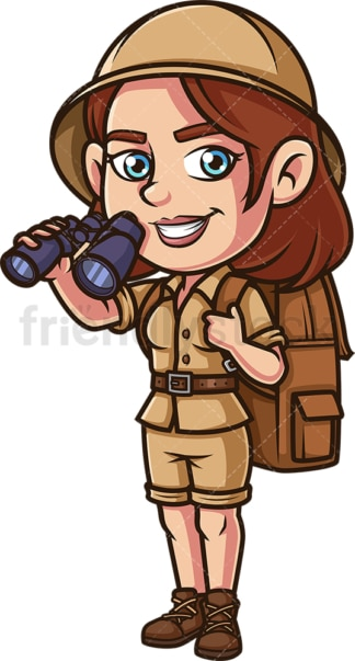Female safari explorer with binoculars. PNG - JPG and vector EPS (infinitely scalable).