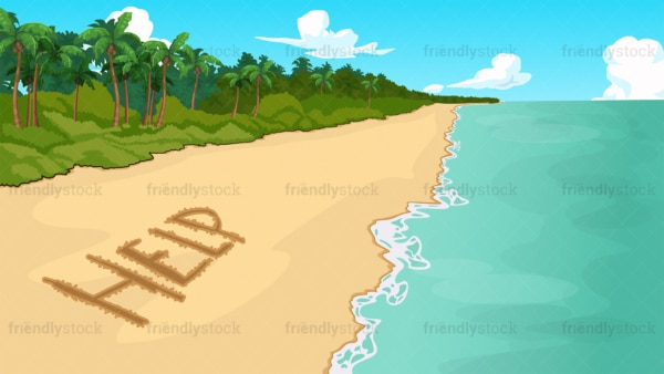 Help distress signal on beach background in 16:9 aspect ratio. PNG - JPG and vector EPS file formats (infinitely scalable).