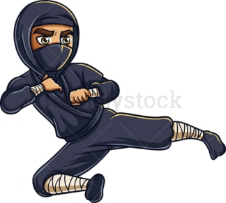 Japanese ninja flying kick. PNG - JPG and vector EPS (infinitely scalable).