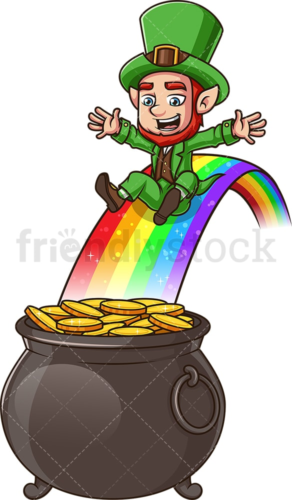 Leprechaun sliding into a pot of gold. PNG - JPG and vector EPS (infinitely scalable). Image isolated on transparent background.