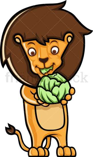 Lion eating vegetables. PNG - JPG and vector EPS (infinitely scalable).