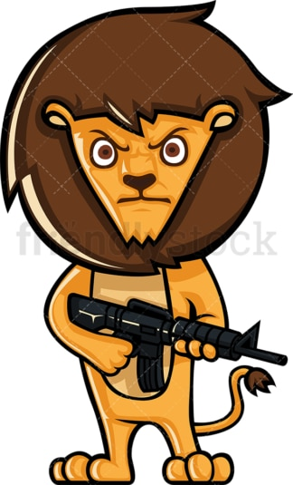 Lion holding a rifle gun. PNG - JPG and vector EPS (infinitely scalable).