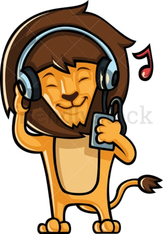 Lion listening to music. PNG - JPG and vector EPS (infinitely scalable).