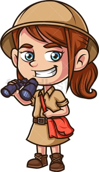 Little girl explorer with binoculars. PNG - JPG and vector EPS (infinitely scalable).