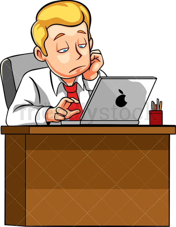 Man bored at work. PNG - JPG and vector EPS file formats (infinitely scalable). Image isolated on transparent background.
