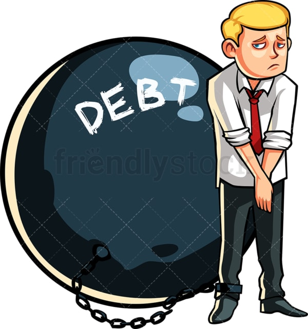Business man in debt. PNG - JPG and vector EPS file formats (infinitely scalable). Image isolated on transparent background.