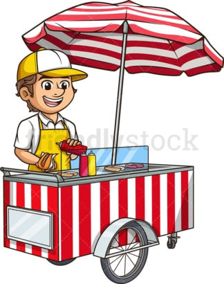 Man making hot dogs. PNG - JPG and vector EPS (infinitely scalable).