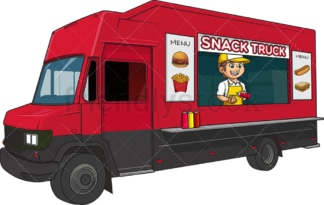 Man selling hot dogs with food truck. PNG - JPG and vector EPS (infinitely scalable).