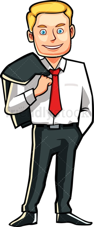 Man with jacket slung over the shoulder. PNG - JPG and vector EPS file formats (infinitely scalable). Image isolated on transparent background.