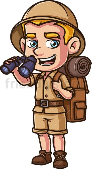 Safari explorer holding binoculars. PNG - JPG and vector EPS (infinitely scalable).