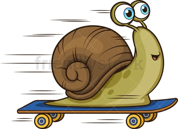 Snail on skateboard. PNG - JPG and vector EPS (infinitely scalable).