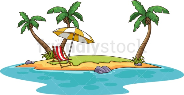 Tropical island with beach chair. PNG - JPG and vector EPS (infinitely scalable).