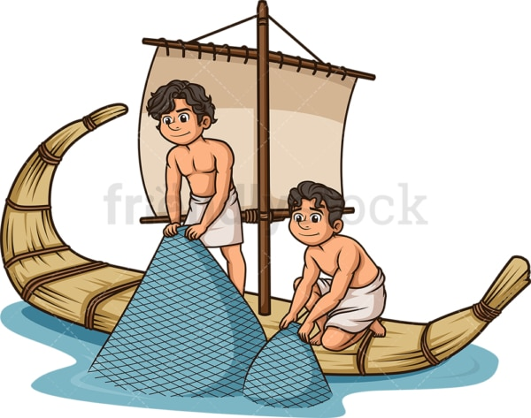 Ancient world fishermen fishing. PNG - JPG and vector EPS file formats (infinitely scalable). Image isolated on transparent background.