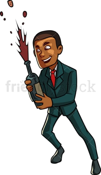 Black businessman holding champagne. PNG - JPG and vector EPS file formats (infinitely scalable). Image isolated on transparent background.