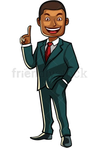 Black businessman pointing up. PNG - JPG and vector EPS file formats (infinitely scalable). Image isolated on transparent background.