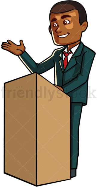 Black man giving a speech. PNG - JPG and vector EPS file formats (infinitely scalable). Image isolated on transparent background.