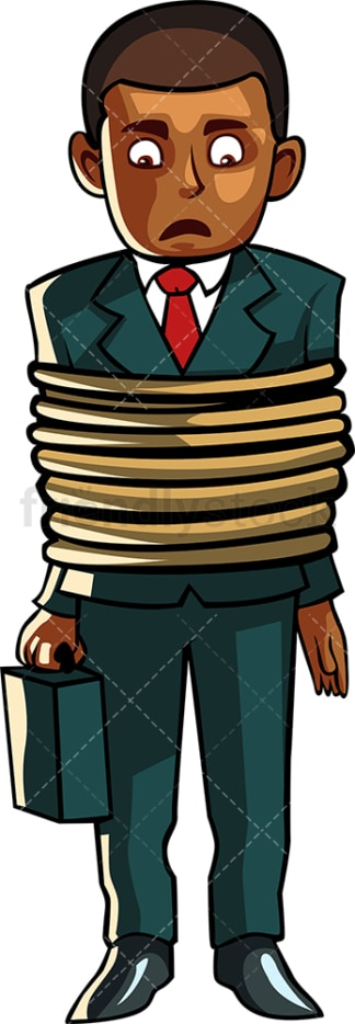 Black man with ropes wrapped around him. PNG - JPG and vector EPS file formats (infinitely scalable). Image isolated on transparent background.