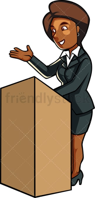 Black woman public speaking. PNG - JPG and vector EPS file formats (infinitely scalable). Image isolated on transparent background.