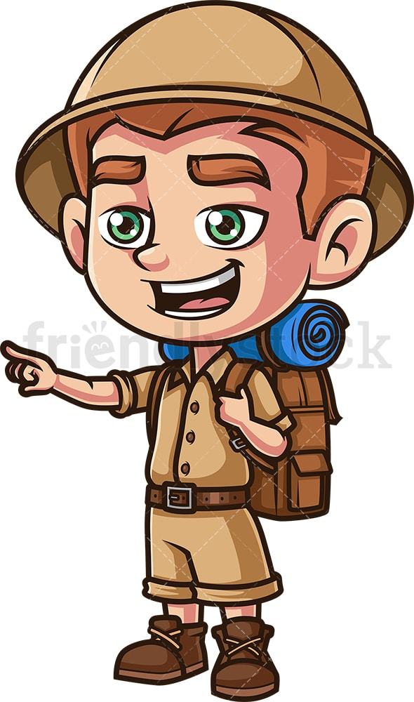 Boy explorer pointing. PNG - JPG and vector EPS (infinitely scalable).