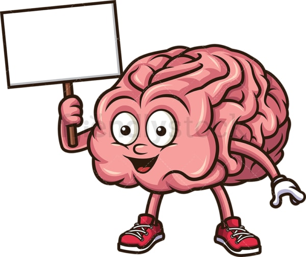 Brain holding blank sign. PNG - JPG and vector EPS (infinitely scalable).