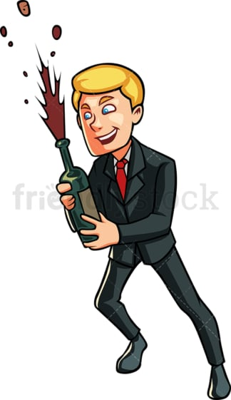 Business man opening champagne. PNG - JPG and vector EPS file formats (infinitely scalable). Image isolated on transparent background.