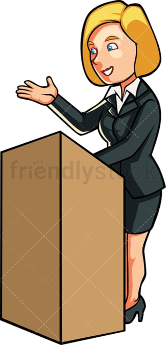 Business woman giving a speech. PNG - JPG and vector EPS file formats (infinitely scalable). Image isolated on transparent background.