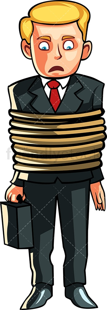Businessman tied up. PNG - JPG and vector EPS file formats (infinitely scalable). Image isolated on transparent background.