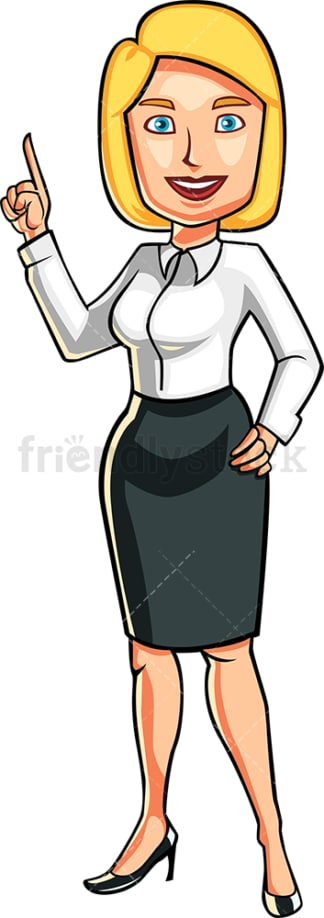 Businesswoman pointing up. PNG - JPG and vector EPS file formats (infinitely scalable). Image isolated on transparent background.