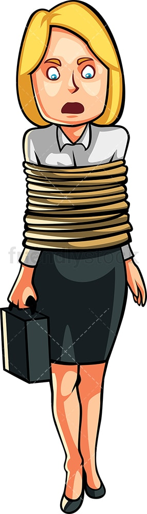Businesswoman tied up. PNG - JPG and vector EPS file formats (infinitely scalable). Image isolated on transparent background.