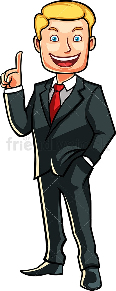 Caucasian businessman pointing up. PNG - JPG and vector EPS file formats (infinitely scalable). Image isolated on transparent background.