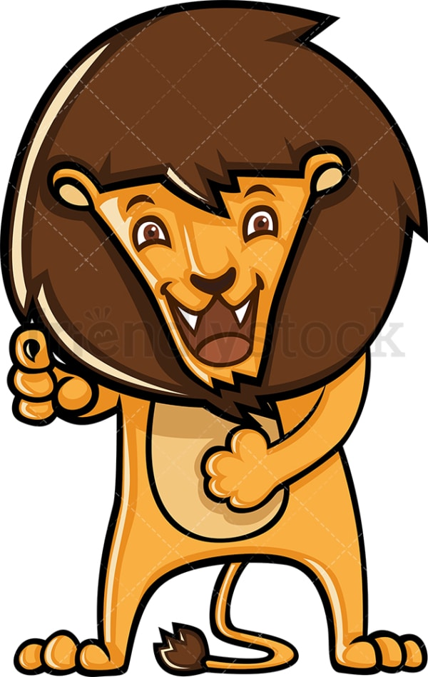 Cute lion pointing and laughing. PNG - JPG and vector EPS (infinitely scalable).