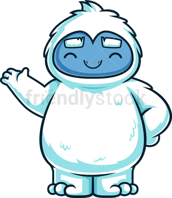 Cute yeti monster presenting. PNG - JPG and vector EPS (infinitely scalable).