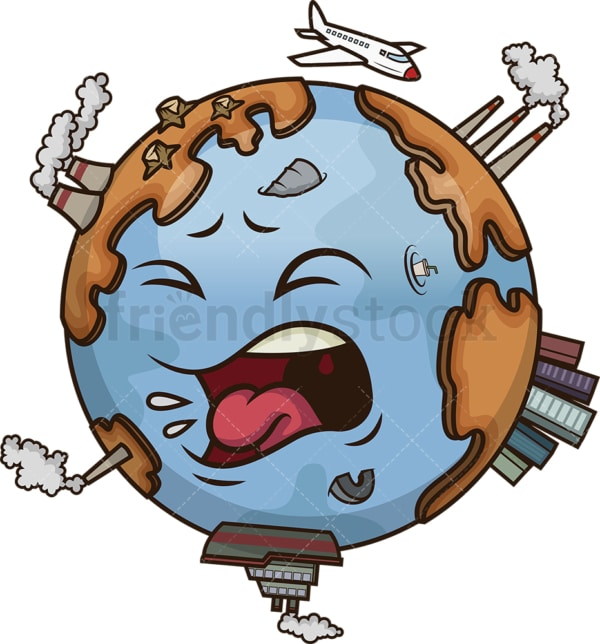 Earth pollution. PNG - JPG and vector EPS file formats (infinitely scalable). Image isolated on transparent background.