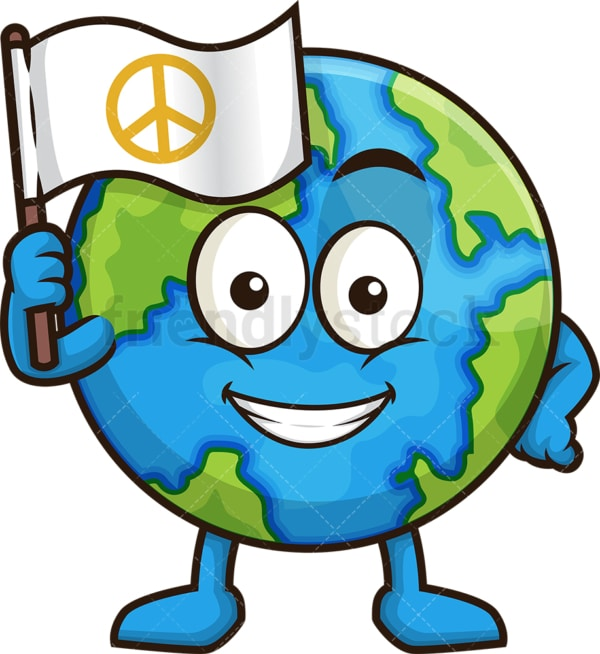 Earth waving white flag. PNG - JPG and vector EPS (infinitely scalable).
