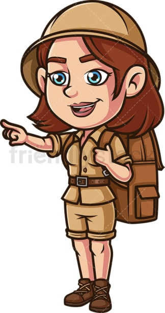 Female explorer pointing somewhere. PNG - JPG and vector EPS (infinitely scalable).