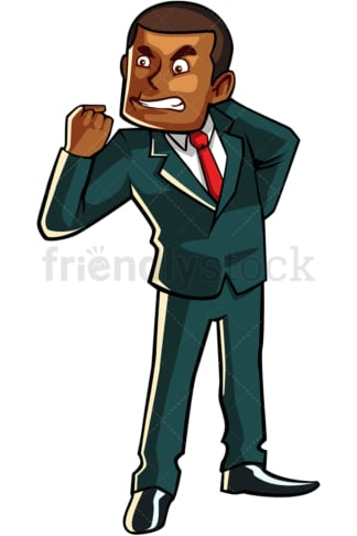 Furious black businessman. PNG - JPG and vector EPS file formats (infinitely scalable). Image isolated on transparent background.