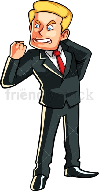 Furious business man. PNG - JPG and vector EPS file formats (infinitely scalable). Image isolated on transparent background.