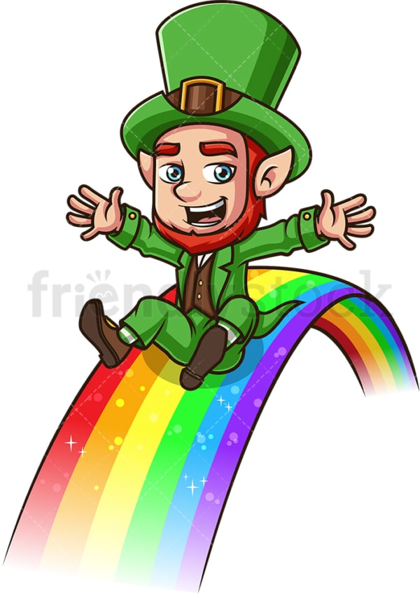 Leprechaun on a rainbow. PNG - JPG and vector EPS (infinitely scalable). Image isolated on transparent background.