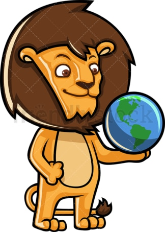 Lion holding an earth globe. PNG - JPG and vector EPS (infinitely scalable).
